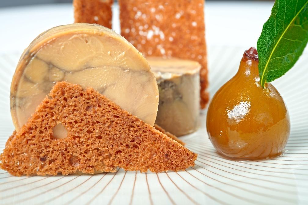 Marbré de foie gras de canard au moût de vin